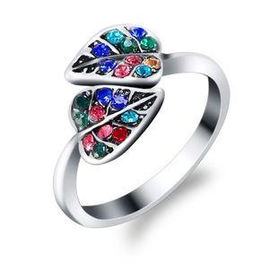 Multicolor Crystal Leaf Silver Spiral Wrap Ring